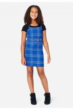 Belted Layered Plaid Dress