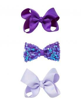 3 pack Sequin Bow Clip Set
