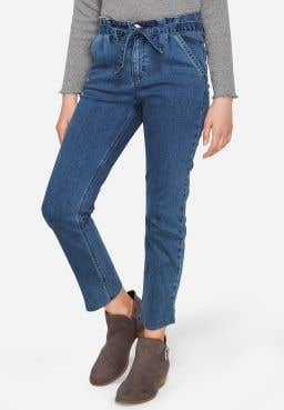 Belted High Rise Straight Ankle Jean