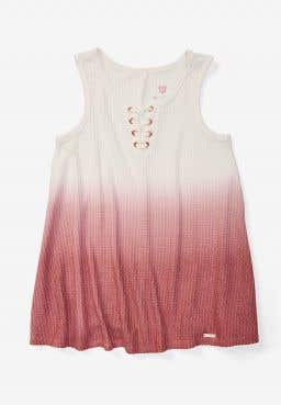 Ombre Lace Up Waffle Tank