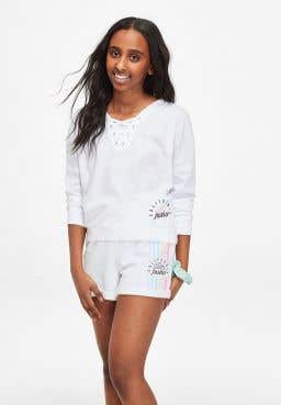 Lace Up Long Sleeve Tee