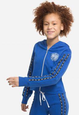 Logo Tape Sleeve Zip Up Hoodie