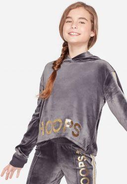 Velour Glitter Stripe Sports Sweatshirt
