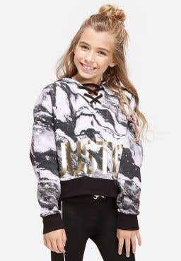 Lace Up Neck Hoodie