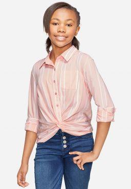 Twist Front Button Up Shirt