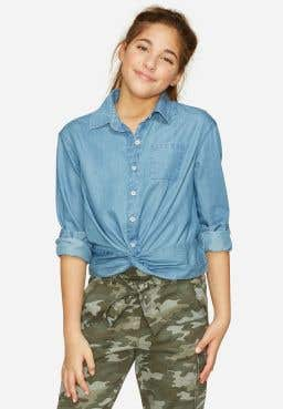 Chambray Twist Front Button Up Shirt