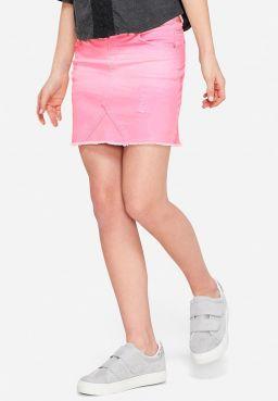 Destructed Color Denim Skirt