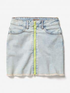 Neon Zip Denim Skirt