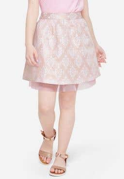Exc Fr Brocade Skirt With Tull