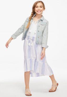 Shimmer Ruffle High Low Maxi Skirt