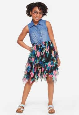 Floral Denim Tutu 2fer Dress