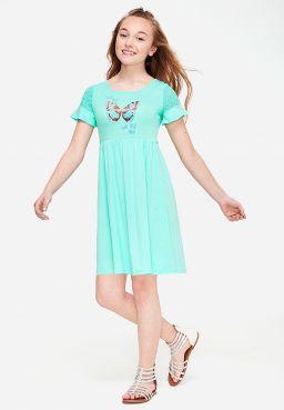 Embellished Embroidered Sleeve Dress
