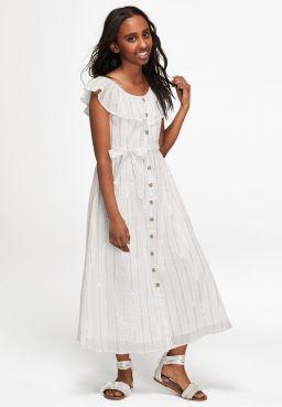 Shimmer Ruffle Button Front Maxi Dress