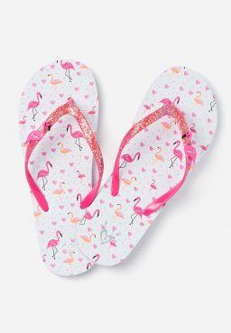 Flamingo Charm Flip Flops