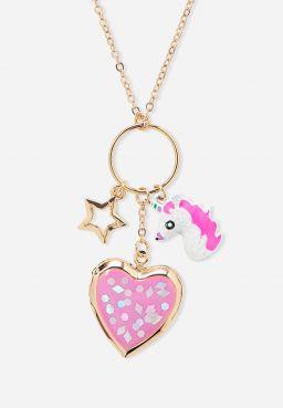 Unicorn Cluster Locket Necklace
