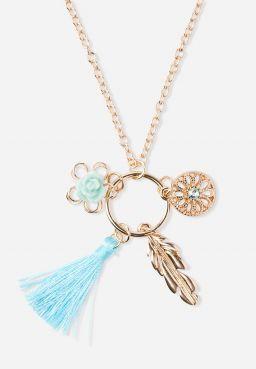 Boho Cluster Charm Pendant Necklace