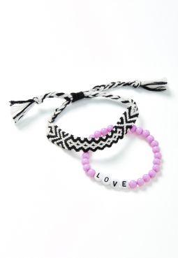 Love Beaded & Braided Bracelet - 2 Pack