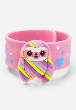Sloth Charm Slap Bracelet