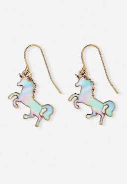 Marble Unicorn Drop Earrings