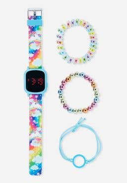 Rainbow Unicorn LED Watch & Bracelet Set