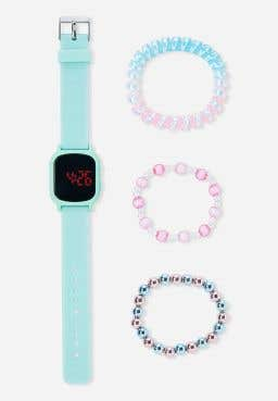 Mint Glitter LED Watch & Bracelet Set