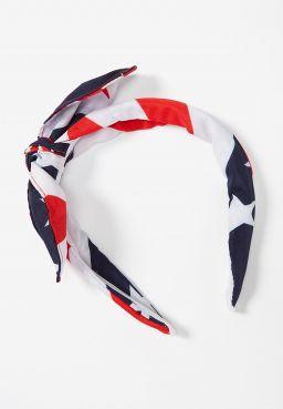 American Flag Bow Headband