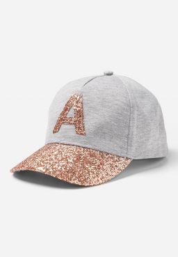 Rose Gold Glitter Initial Baseball Cap