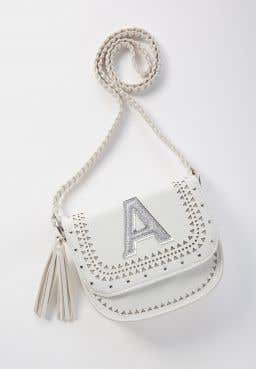 Initial White Tassel Crossbody Bag