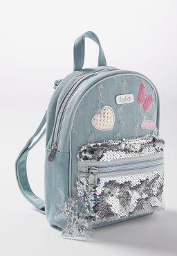 Denim Patches Mini Backpack