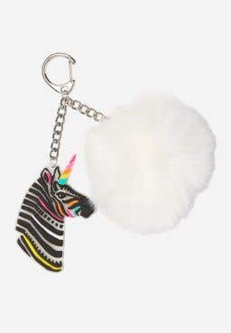 Zebra Glow in the Dark Pompom Keychain