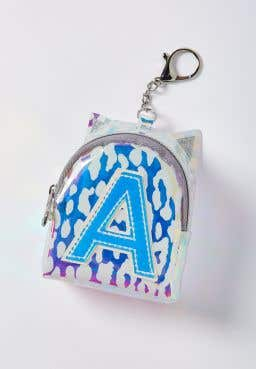 Initial Holo Leopard Backpack Keychain