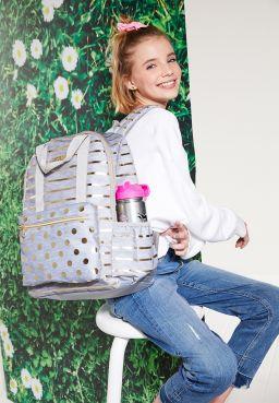 Grey Foil Stripe & Dot Backpack