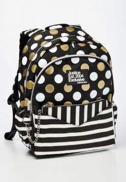 Black Stripe & Dot Backpack & Wristlet