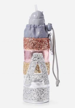 Initial Glitter Water Bottle