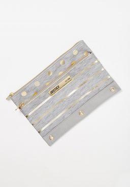 Grey Foil Stripe & Dot Pencil Case