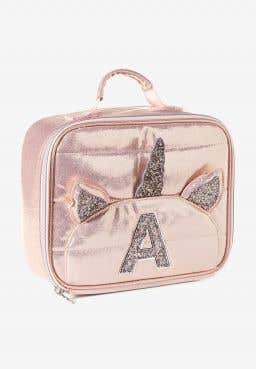 Rose Gold Quilted Unicorn Initial Lunch Tote