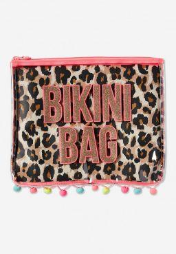 Cheetah Pompom Bikini Bag
