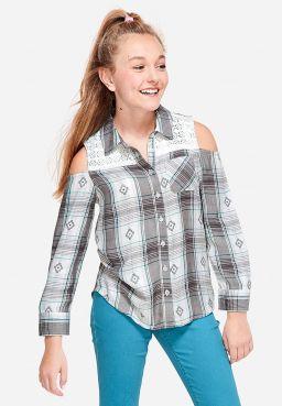 Crochet Cold Shoulder Button Up Shirt