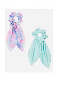 2 Pack Tie Dye & Lycra Tail Scrunchies