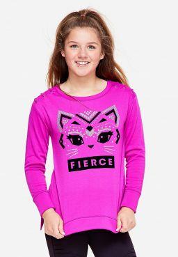 Fierce Kitty Lace Up Sleeve Sweatshirt