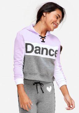 Dance Stud Lace Up Crop Hoodie