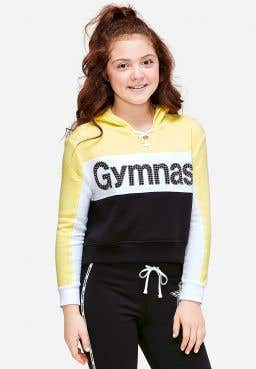 Gymnastics Stud Lace Up Crop Hoodie