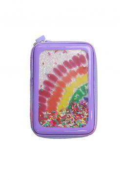 Rainbow Tie Dye Molded Glitter Confetti Pencil Case