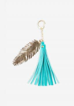 Tassel Bag Charm with Feather