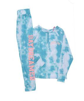 2 Piece Henley Tie Dye Sleepwear